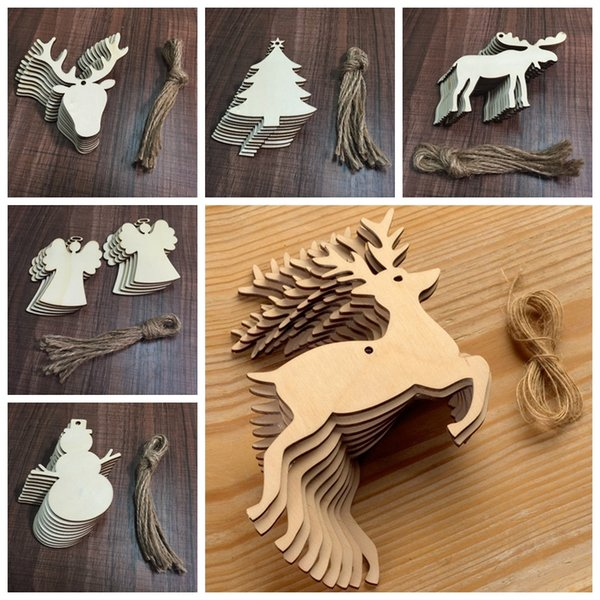10 pcs/Lot Christmas Tree Ornaments Wood Chip Snowman Tree Deer Socks Hanging Pendant Christmas Decoration Xmas Gift Crafts