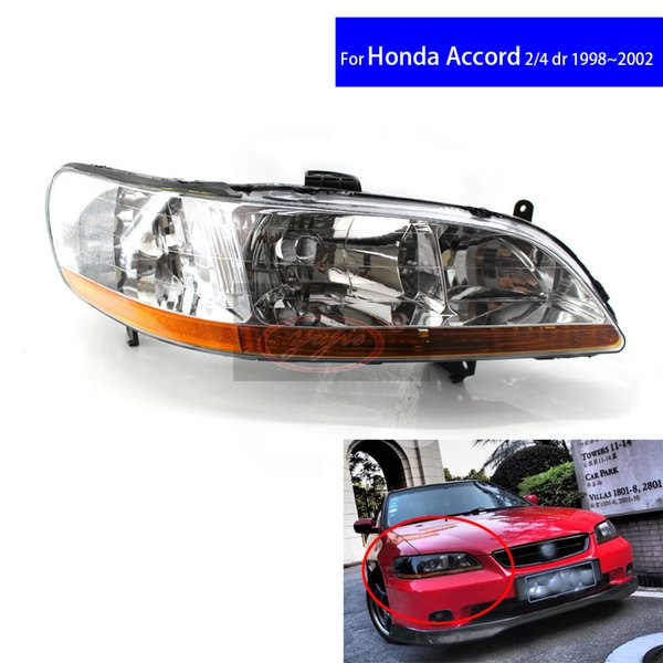 Chrome Front Diamond Car Headlights for Honda Accord CG5 1998 1999 2000 2001 2 / 4 DR Car Light Assembly Auto Headlamp