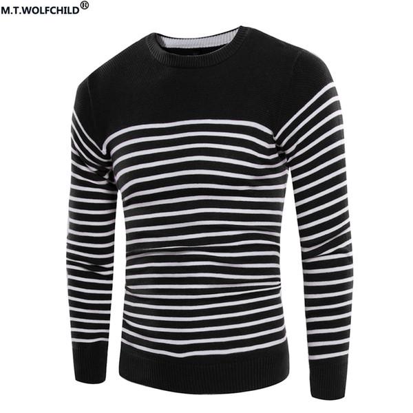 Pullover Pullover 2017 Herbst und Winter Striped Rundhals Pullover Mode schlank Langarm warme Pullover lässig Herren Top
