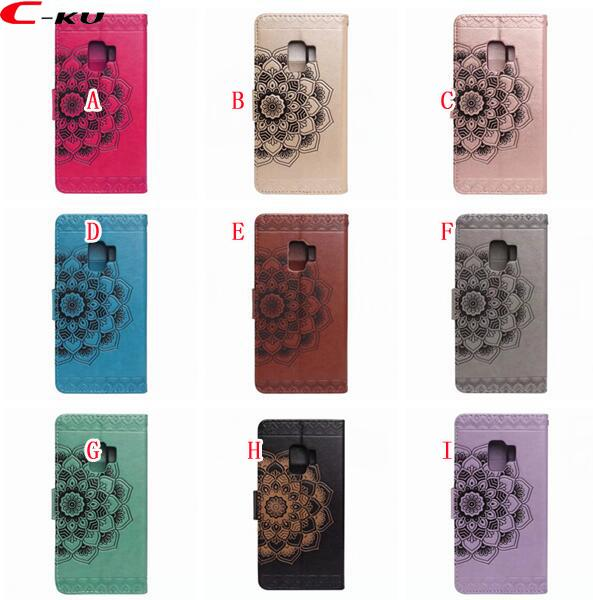 For Samsung Galaxy S9 Plus Mandala Flower Wallet Leather Case Datura Floral Cards Slot Fashion Stand Skin Flip Cell Phone Cover 50pcs