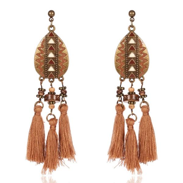 LUFANG 2017 Fashion Women Jewelry Drop Coffee Tassel Earrings Round Ethnic Maxi Vintage Hooks Wooden Bead Stud Earrings Bohemian