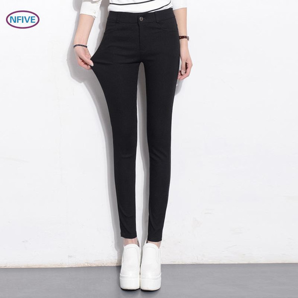NFIVE Brand 2017 Spring And Autumn Female New Trousers Conventional Thin Lady Wearing Black Leggings Women Fashion Pants