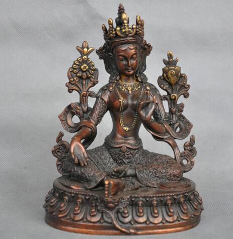 7 '' China Tibet Green Tara Buddha Dea Statua in bronzo