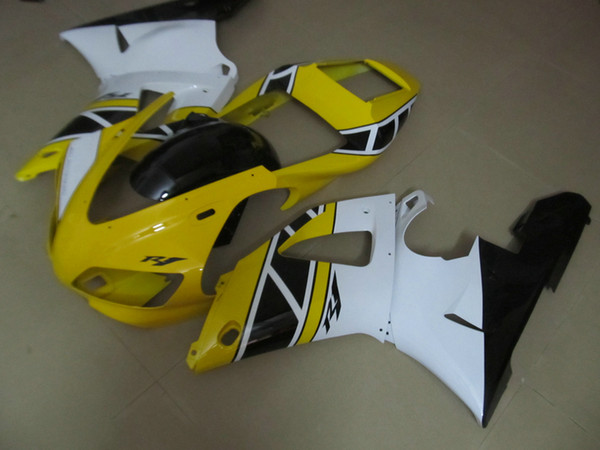 Free custom Fairing kit forYAMAHA YZF R1 1998 1999 yellow black white fairings set YZF R1 98 99 QR56
