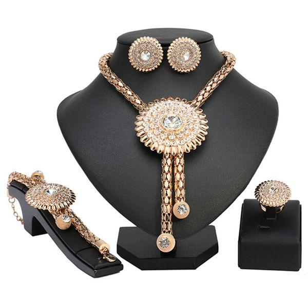 Exquisite 2019 Dubai Gold Schmuck Set Großhandel Nigerian Hochzeit Mode Afrikanische Perlen Schmuck Set Marke Frau Kostüm Design
