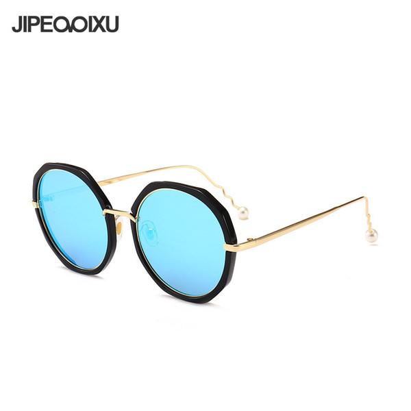 New Women Round Mirror Sunglasses Fashion Pearl Spiral Legs Irregular Frame Sun Glasses Men and Women Large Frame Eyewear UV400