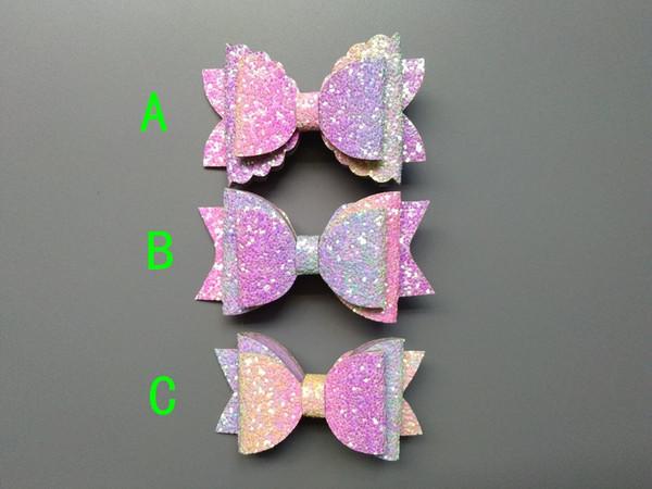 Boutique 2pcs Fashion Glitter Gradient Rainbow Mermaid Color Hair Bow Hairpins Solid Pastel Bowknot Hair Clips Princess Headware