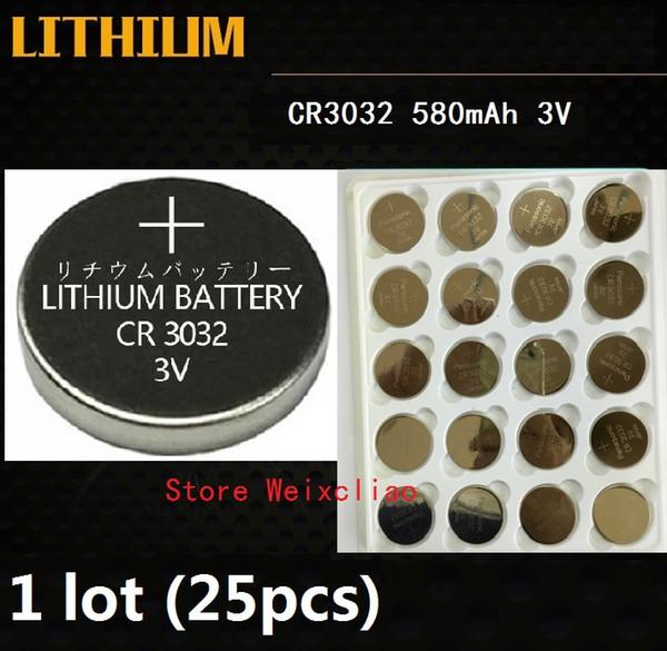 25pcs 1 lot CR3032 3V lithium li ion button cell battery CR 3032 3 Volt li-ion coin batteries Free Shipping