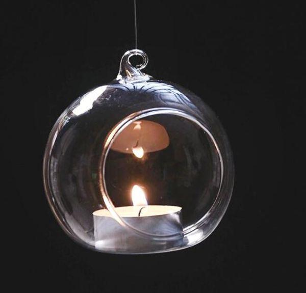 Clear hanging glass candles holder Glass Ball Tea Light Holders Wedding Candlestick Indoor Planter Terrariums For wedding Home Decor