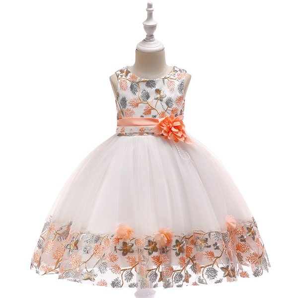 Children's embroidered dress lace color matching princess dress girls flowers wedding dress skirt