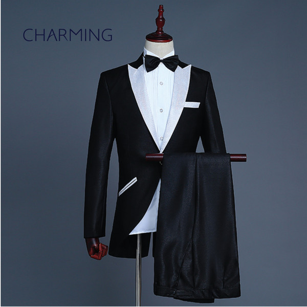 65e4dbb9aadb Mens wedding tuxedos performance costume Magician stage choir symphony  orchestra conductor costume singer performing prom tuxedos