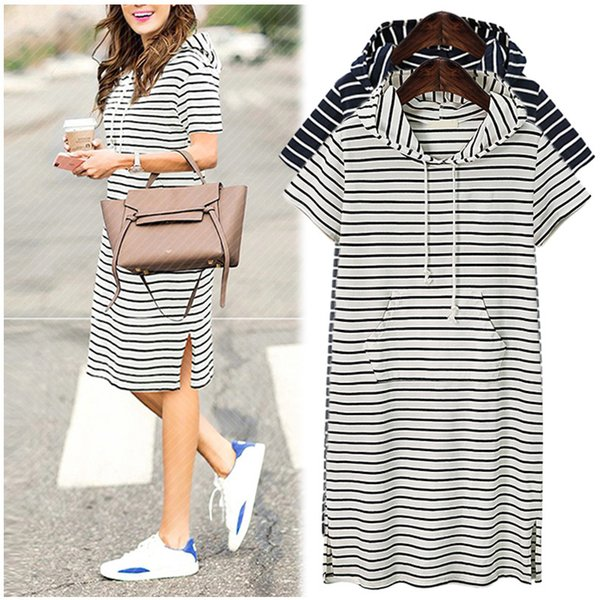 Plus Size 5XL 2019 Women Hoodies Shirt Dress Summer Short Sleeve Black and White Striped Blouse Dresses Casual Work Office