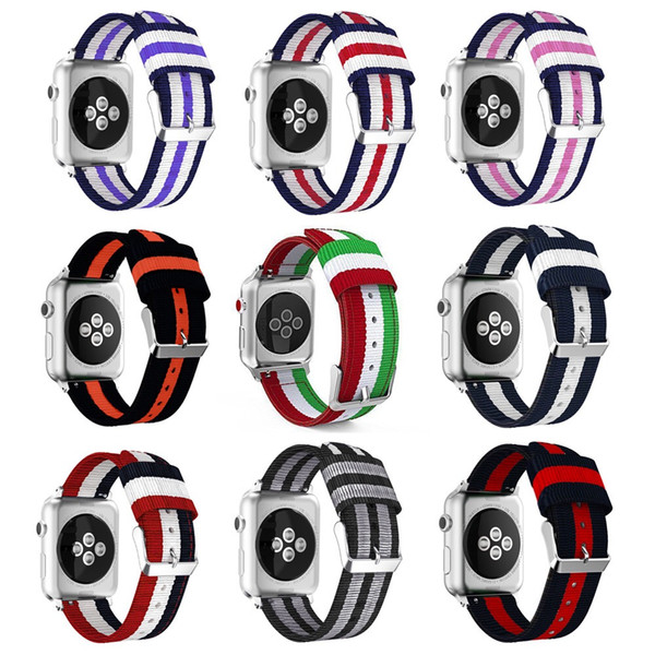For Apple watch nylon band colorful straps with stainless steel buckle and adpater compatible series 4 3 2 1 38mm 40mm 42mm 44mm