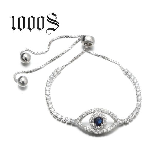2018 superventas elegante alta calidad mujer retráctil 925 pulsera de plata esterlina mal de ojo para la muchacha MB00163