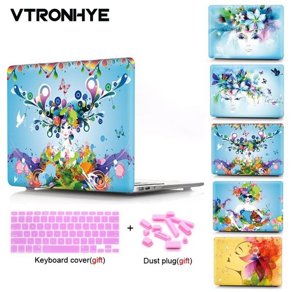 VTRONHYE laptop Case For Macbook Air Pro Retina 11 12 13 15 inch For Macbook Pro 13 15'' with Touch Bar+Keyboard cover+Dust plug