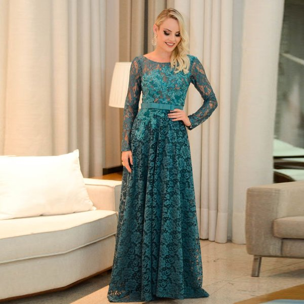 Hunter Green Full Lace Long Prom Dresses Scoop Neck Long Sleeve Backless Evening Gown Bow Tie Belt Cocktail Party Skirts