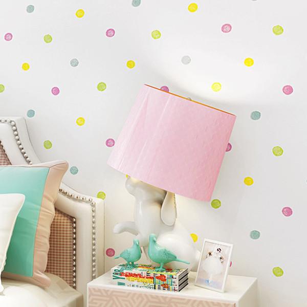 Umweltschutz Vliestapete Kinderzimmer Cartoon Farbe Schöne Dot Wall Paper 3D Jungen Und Mädchen Schlafzimmer Dekor
