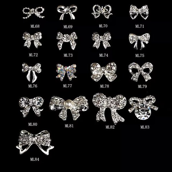 top popular 100Pcs Lot Silver Butterfly Fancy Rhinestone Christmas Silver Deco Metal Charms Metal Deco Charms Nail Art 68-84(17designs) 2019