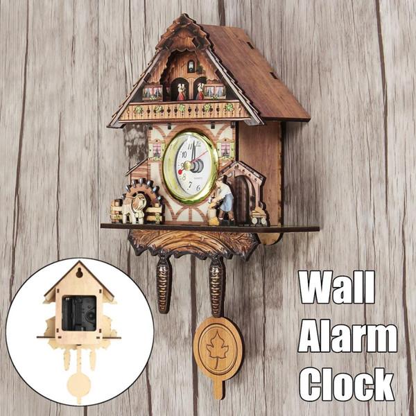 Orologio a cucù Orologio da parete per soggiorno Orologio sveglia per uccelli Modern Brief Decorazioni per bambini Home Day Time Alarm Only