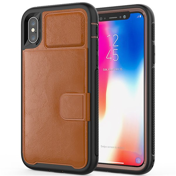 For iphone X XR Max Seal of The Lion's Head Leather Shockproof Defender wallet Cases with Credit Card Holder Slot for XS 8 SCA513