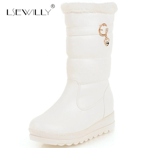 Lsewilly Winter Snow Boots Platform 4cm Heels Women Shoes Black White Pink Mid Calf Boots Fashion Ladies Winter E202