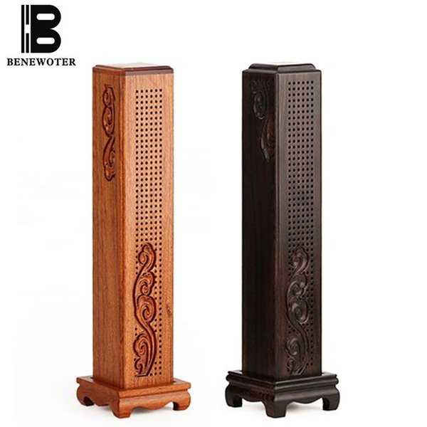 10 Inch Chinese Vintage Rosewood Wooden Vertical Box Stick Incense Burner Stick Censer Ornament Home Decor for Yoga Living Room