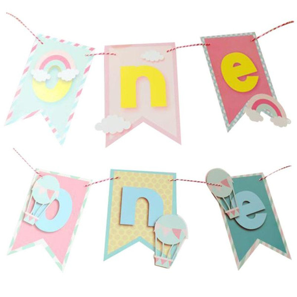 1PC Boy Girl First Birthday Party Baby Chair Flag Banner One Year Old Hanging Bunting