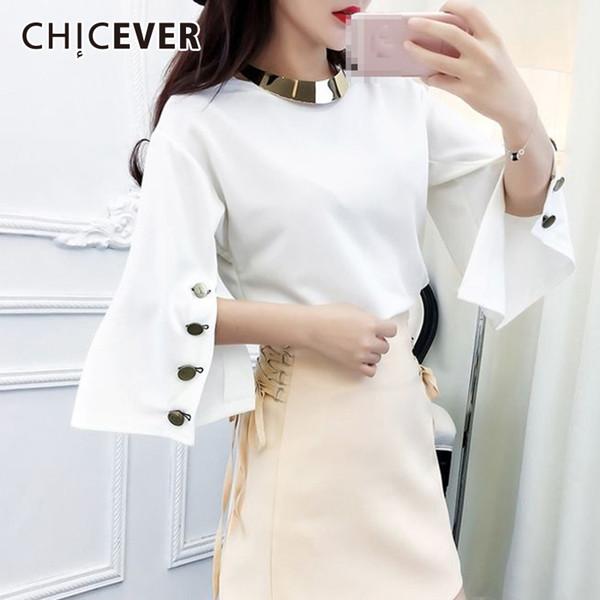 CHICEVER 2018 T-shirt Femme O Cou Split Flare Sleeve Dames Tops D'été Buon Casual Femmes T-shirts Korean Fashion Vêtements