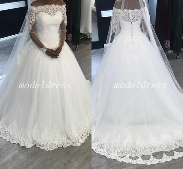 2018 Africa White Lace Ball Gown Wedding Dresses Long Sleeve Bateau Appliques Garden Chapel Country Bridal Gowns vestido de novia
