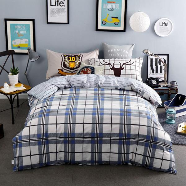 100% хлопок синий серый плед постельные принадлежности полоса простыни наборы мальчиков / взрослых 4 / 5pc пододеяльник 400TC полный Королева размеры олень подушка Шам