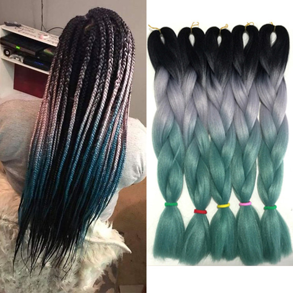 Jumbo Braid Kanekalon Hair Three Tone Xpression Ombre Braiding African Crochet Braids 24 inch 100g Synthetic Hair Blonde White Blue Green