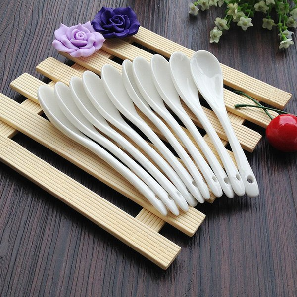 Porcelain Ceramic Coffee Spoons Pure White Bone China Coffee Spoon Small Spoon 10 Pieces Kitchen Tools Accessories