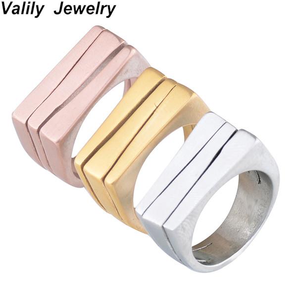 Valily Jwelry Simples Bar Retângulo Fosco Anel de Ouro para As Mulheres de Aço Inoxidável Moda Banda Anel Homens Anéis de Design Geométrico do sexo feminino