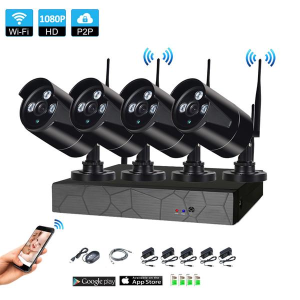 4CH Wireless NVR 1080P IR outdoor P2P WIFI 4 PCS 2.0MP CCTV Security Camera System Surveillance Kit