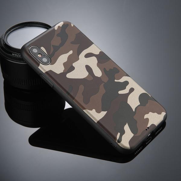 Legal do exército camo camuflagem casos de telefone para iphone 8 7 plus para iphone 6 s 7 plus x armygreen couro macio tpu capa case