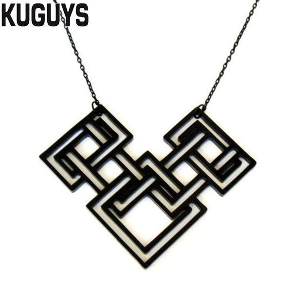 KUGUYS Trendy Jewelry Set Balck Geometric Drop Earrings for Women Fashion Acrylic Hyperbole HipHop Large Pendant Necklaces