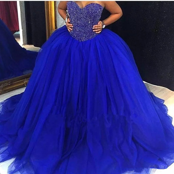 2018 Cheap Royal Blue Quinceanera Gowns Sweetheart Beaded Crystal Lace Up Ball Gown Sweet 16 Dresses 15 Years Prom Formal QQ14