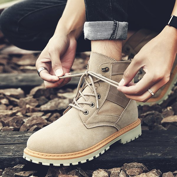 Best Cheap Men Khaki Martin Boots Outdoor Hiking Snow Ankle Boots High Top Boots Winter Warmful Lace-Up Canvas Shoes 39-44