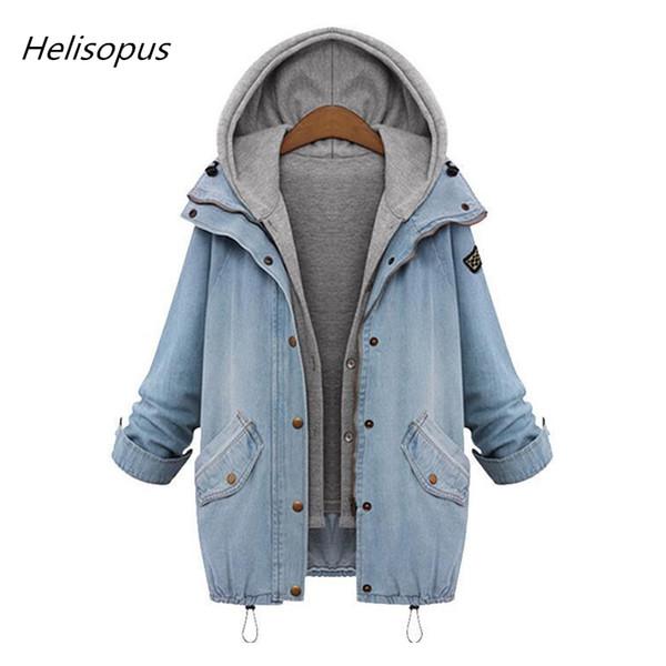 Helisopus Outono Inverno Mulheres Engrossar Jaqueta Jeans 2018 Moda Com Capuz Solto Jeans Casaco Plus Size M-6XL