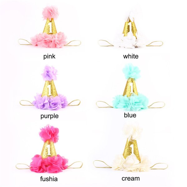Baby Birthday Headbands Cone Shape Hairband Kids Glitter Birthday Headbands Party Supplies Princess Tiara Hat Boutique Hair Accessories
