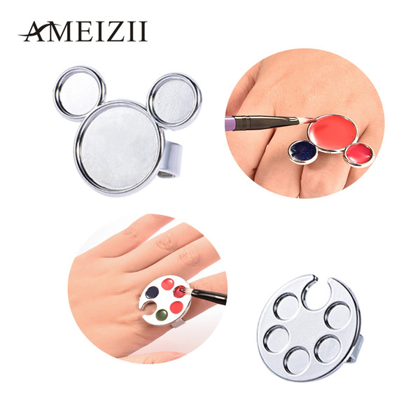 AMEIZII 1Pc Mini Nail Art Metal Finger Ring Palette Dish Mixing Acrylic Gel Polish Painting Drawing Color Paint Manicure Tools