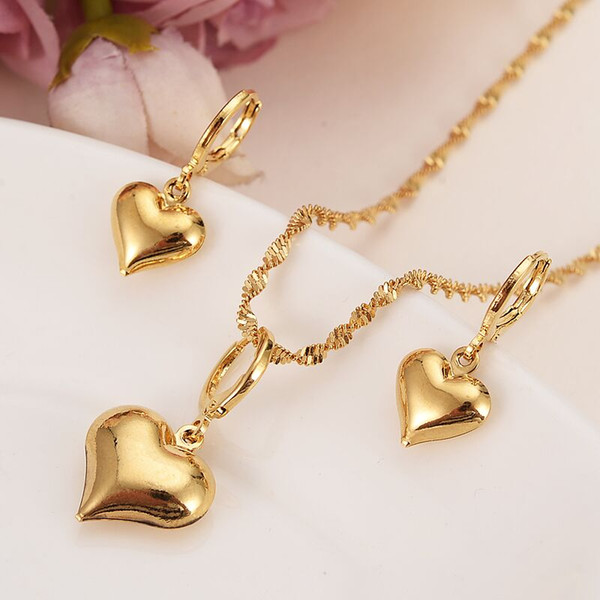 top popular 24 k Yellow Solid Gold Filled Lovely heart Pendant Necklaces earrings Women girls party jewelry sets gifts diy charms 2021