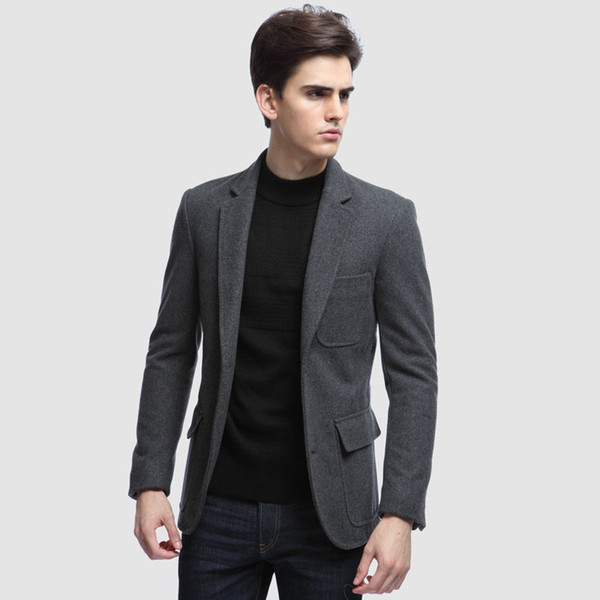 2018 Grey Tweed Men Suits Custom Made Casual Fashion Suits Tailored Tuxedo 1 Piece Slim Fit Jacker Man Terno Blazer Masculino (Only Jacket)