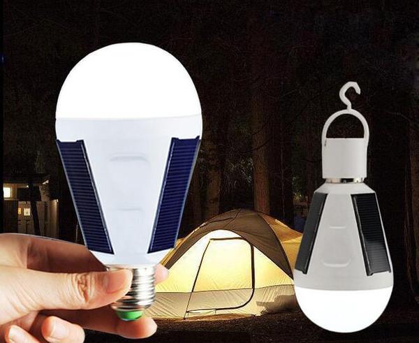 Solar Camping LED E27 7W 12W Solar Lamps 85-265V Energy Saving Light LED Intelligent Lamp Rechargeable Solar lighting Emergency Bulb Dayligh