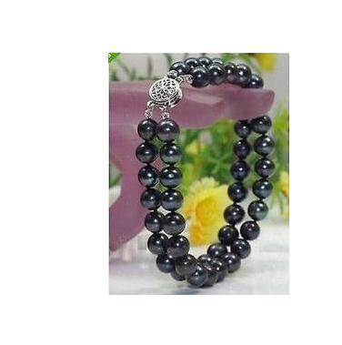 Beautiful double strands 9-10mm tahitian black round pearl bracelet 7.5-8inch S925 silver