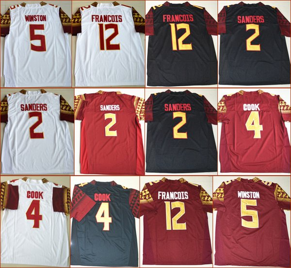 buy popular 41ed1 2060d 2019 American Football Jerseys College Florida State Jerseys 2 Deion  Sanders 4 Dalvin Cook 5 Jameis Winston 12 Deondre Francois Jersey From  Nede902, ...
