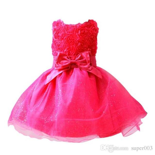 Bebek kız elbise Kırmızı Yay doğum günü partisi için bebek yaz elbise kolsuz prenses çiçek vestido infantil