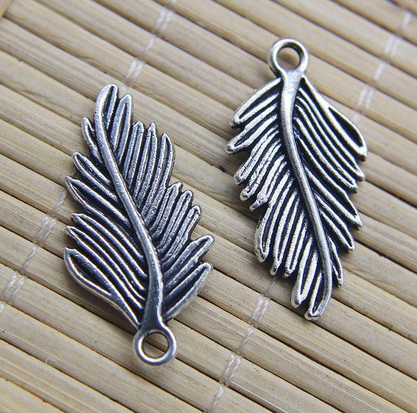 Venta al por mayor 100 unids hojas Retro antiguo de aleación de plata Charm colgante resultados de la joyería joyería que hace DIY regalo 29 * 14 mm