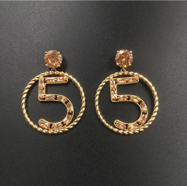 2018 new Korean fashion temperament wild number 5 color zircon earrings personality circle earrings micro-inlaid zircon hypoallergenic 1314