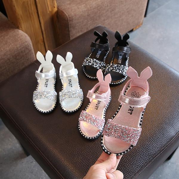 Vente chaude d'été enfants chaussures sandales mignonne princesse bébé filles sandales chaussures noir rose argent paillettes cristal enfants sandales pour les filles
